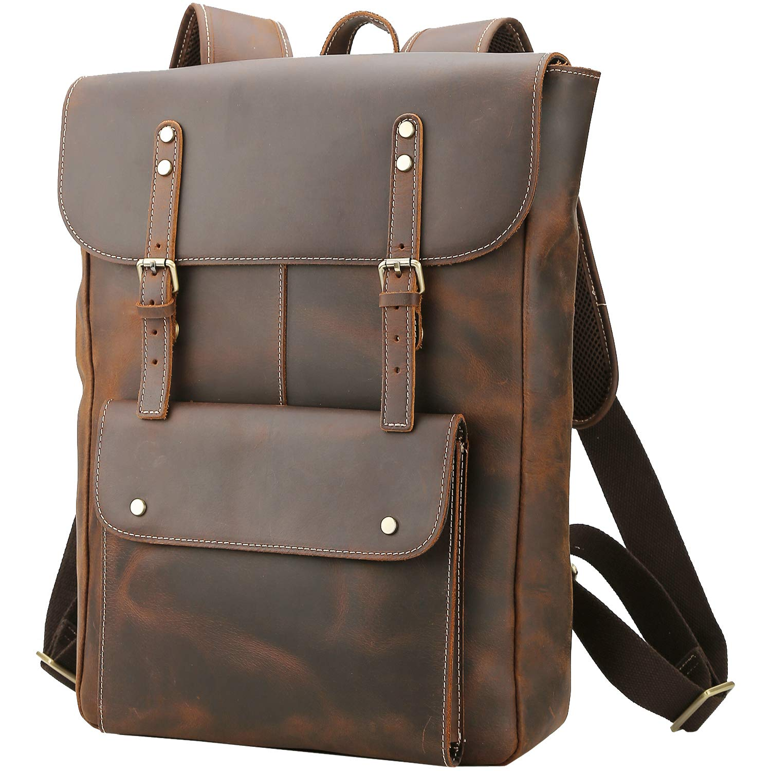 Polare Vintage Full Grain Leather College Bag School Bookbag Backpack Travel Rucksack