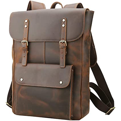 df548330d27 Amazon.com: Polare Vintage Full Grain Leather College Bag School Bookbag  Backpack Travel Rucksack: Computers & Accessories