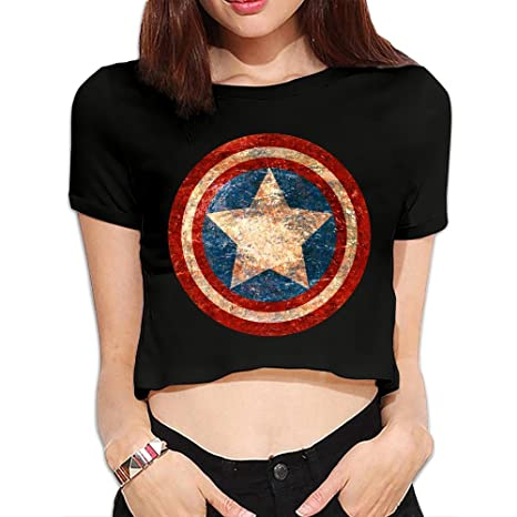 d15c1086a4d7d7 Women s Captain America Civil War Distressed Shield Crop Top Navel T Shirt  Black  Amazon.ca  Clothing   Accessories