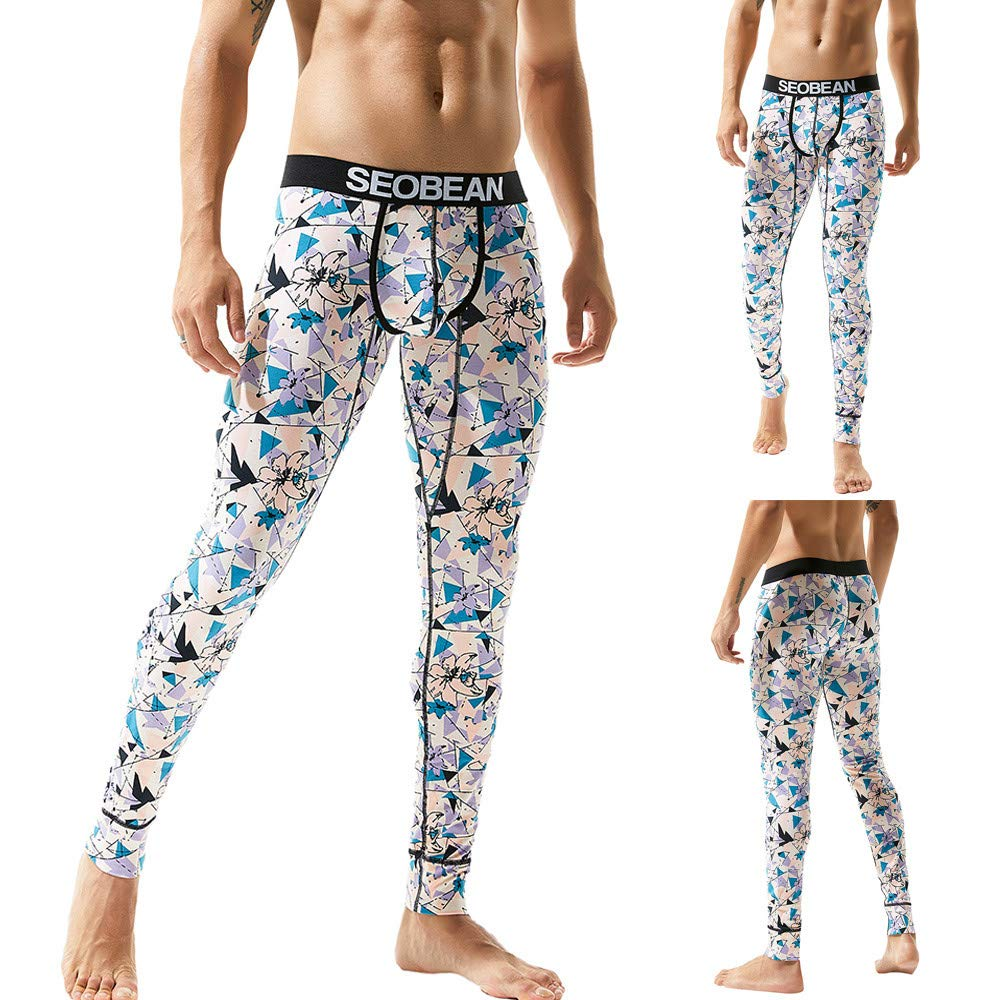 Beikoard 50% Only Men's Print Cotton Breathable Sports Leggings Thermal Long Johns Underwear Pants Material:92% Cotton 8%Spandex