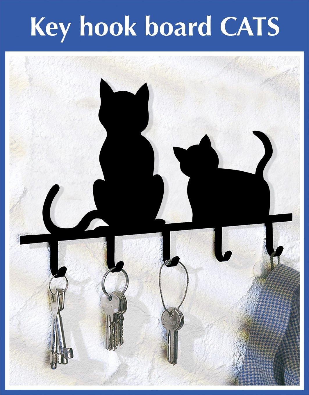 Wenko 8004500 Silhouettes de chats avec 5 crochets peints /à la main Noir 20 x 15 x 2 cm