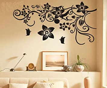 75a0c8ed7c2 Amazon.com   Flower Vine Wall Decal Sticker Bathroom Stickers Vinyl  Removable Wide 150cm High 80cm Black Color   Baby