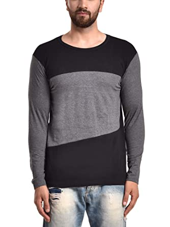PAUSE Men s Solid Cotton Long Sleeve Round Neck Slim-Fit T-Shirt (Small 2942e824f1