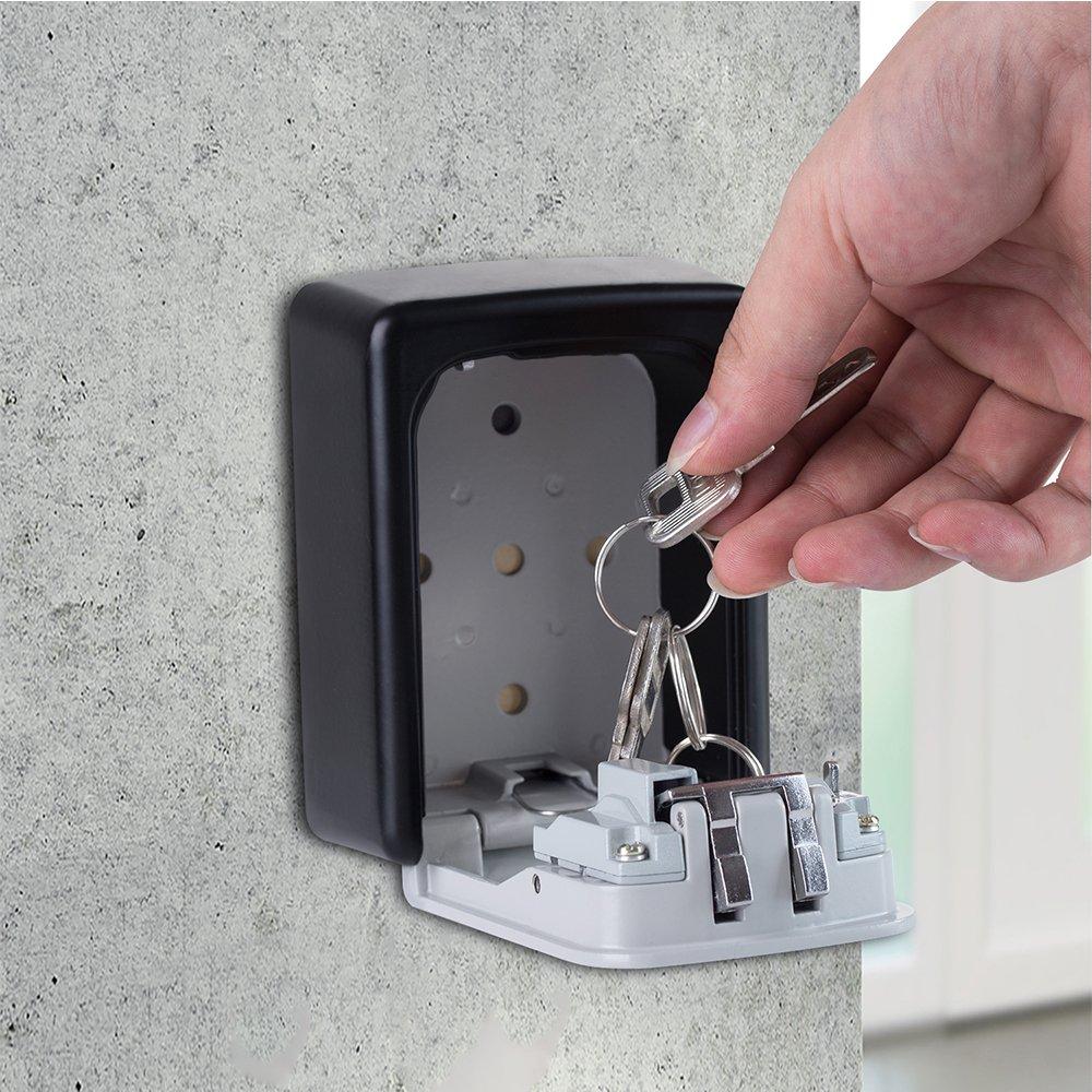 Key Box Wall Mounted, Key Storage Lock Box with Resettable