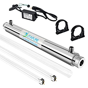 JTAPURE Stainless Steel Ultraviolet Water Sterilizer for Whole House Water Filter System, 110V 6GPM 25W Model + 1/2'' Inlet/Outlet + 1 Extra Lamp + 1 Extra Quartz Sleeve