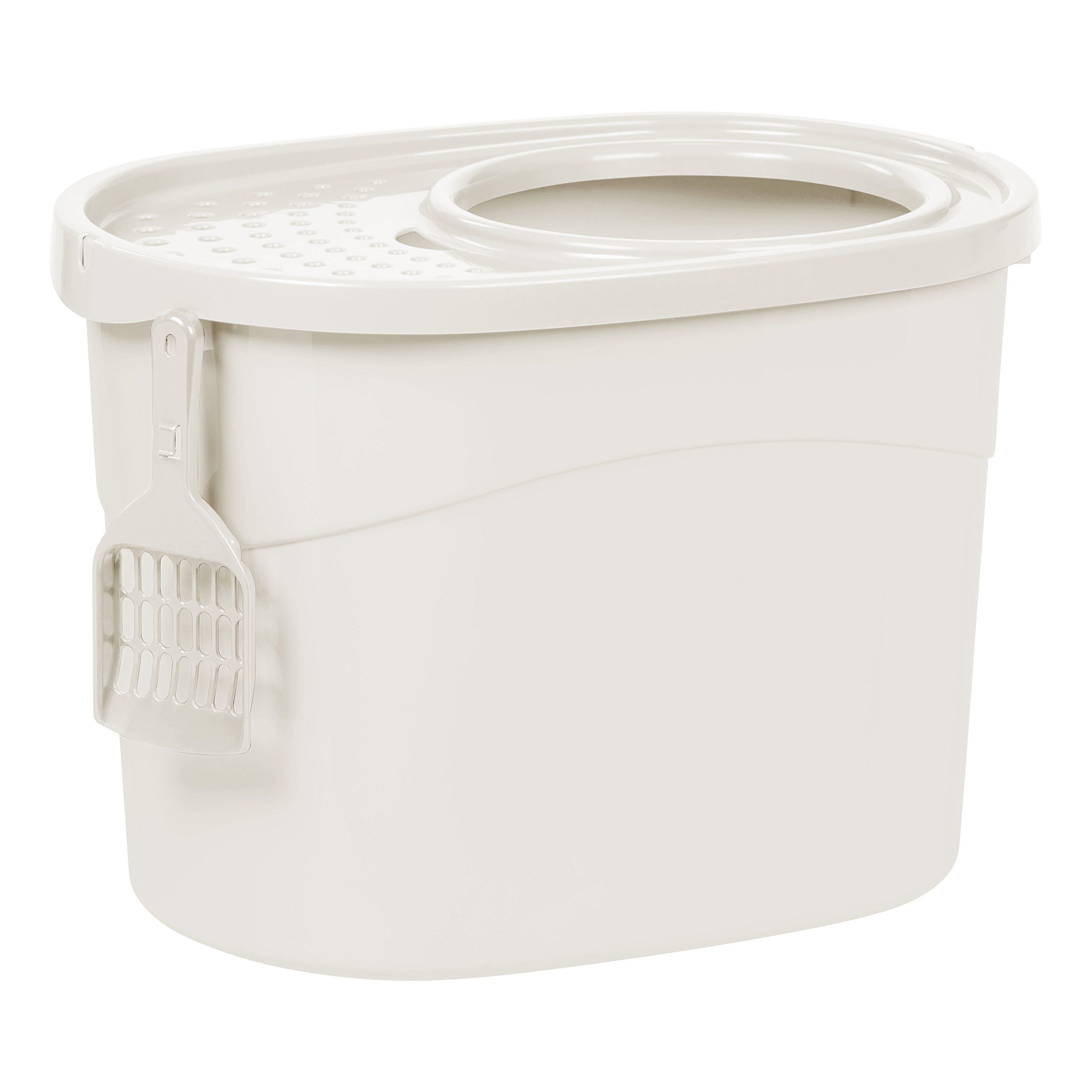 IRIS Top Entry Cat Litter Box with Scoop, White