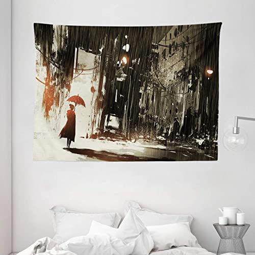 Ambesonne Fantasy Tapestry, Woman with Umbrella in Rain Old Town Ruins Apocalypse Superhero Action Desgin, Wide Wall Hanging for Bedroom Living Room Dorm, 80 X 60 , Green Beige