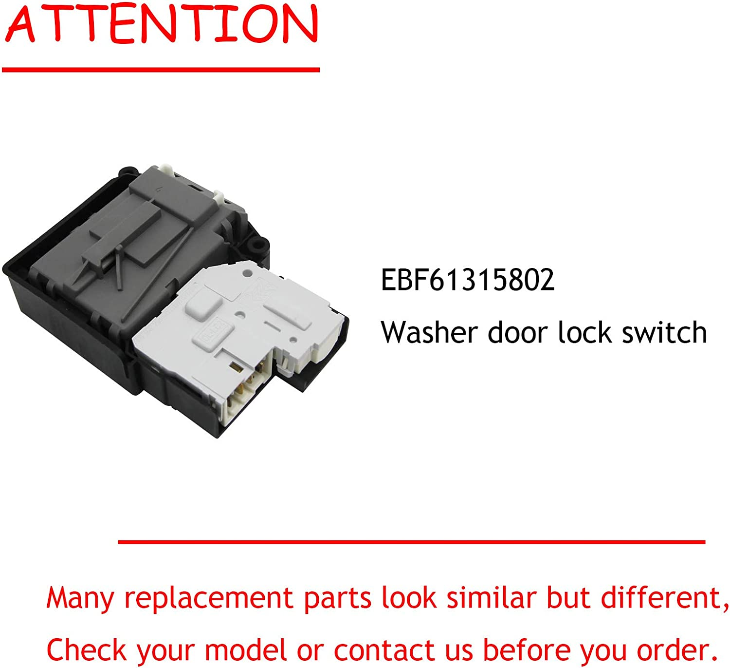 Replacement Part Washer Door Lock Switch for EBF61315802 Replace 2667085 AP5672154 PS7792232 Compatible with LG Kenmore Washer