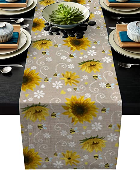 Amazon Com Charmhome Dining Table Runner Sunflower And Honey Bees Print Kitchen Table Runners For Parties Events Decor 16 X 72 Inch Home Kitchen