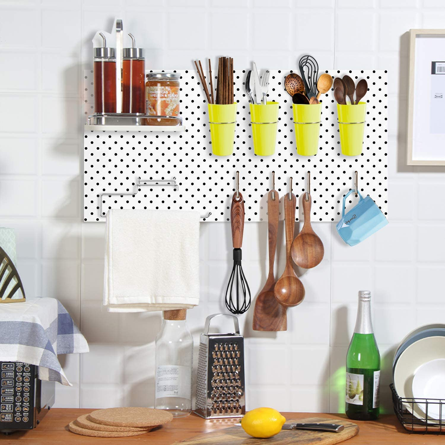 Craft Room Workshop Pegboard Cup Holder Will Not Fall Out for Organizing Tool Shed Ring Style Pegboard Hooks with Cups Garage 4 Sets Pegboard Bins with Rings
