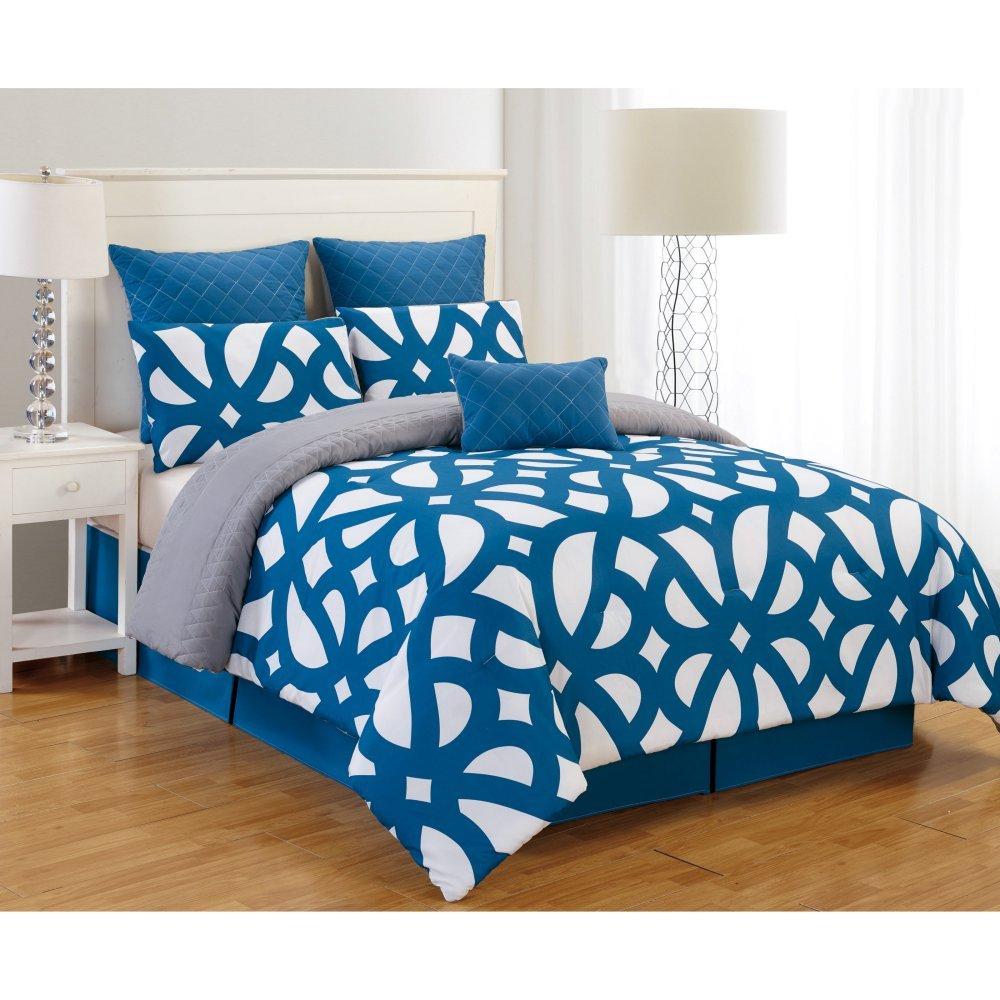 Duck River Textile -  Uxbridge Hotel Quality Luxury Comforter Duvet Insert Cover Hypoallergenic | 7 Piece Set | Geometric Collection, | King Size | Indigo Blue & Grey