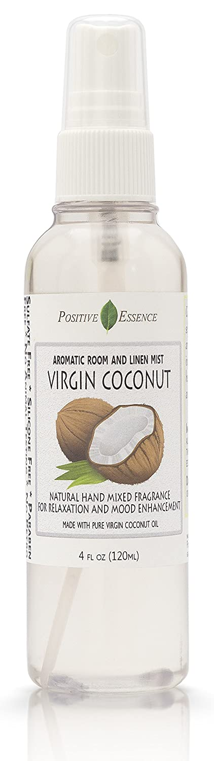 Positive Essence Virgin Coconut Linen and Room Spray, Natural Aromatic Mist Made with Pure Virgin Coconut Oil, Relax Your Body & Mind, Perfect as a Bathroom Air Freshener Odor Eliminator