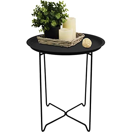 Wohaga Serviertisch Rund 41x48cm Mit Rand Beistelltisch Tabletttisch Wohnzimmertisch Couchtisch Klappbar Schwarz
