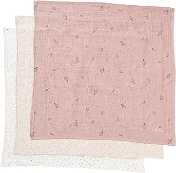 VERTBAUDET Lote de 3 paños de Gasa de algodón Rosa Medio Estampado ...