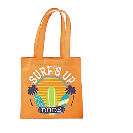 amazon com small surfboard beach party favor tote bags 12 ct