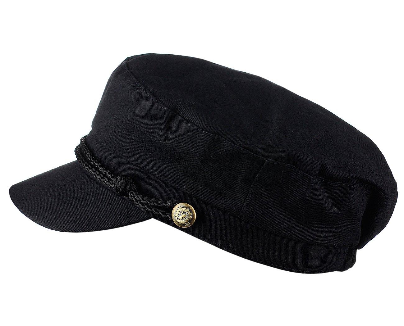 D&Y Ladies Summer Cotton Greek Fisherman Sailor Fiddler Driver Hat Flat Cap, Black by D&Y (Image #3)