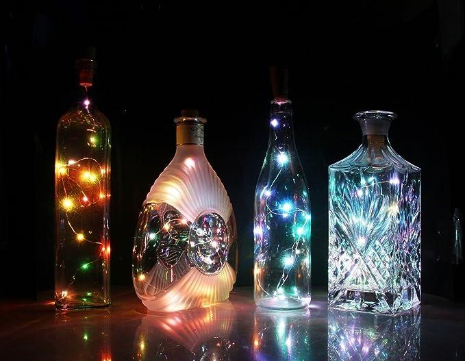 COSOON Juego de 6 luces de corcho para botellas de vino, cadena de cobre,