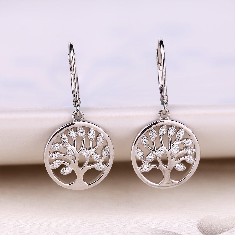 925 Sterling Silver Cubic Zirconia Family Tree of Life Drop & Dangle Leverback Earrings by JO WISDOM (Image #6)