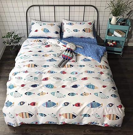 . karever Fish Boat Duvet Cover Set Kids Girls Sealife Theme Bedding Sets  Twin Nature Cotton White Blue 3 Piece Boy Cartoon Animals Teen Comforter  Cover