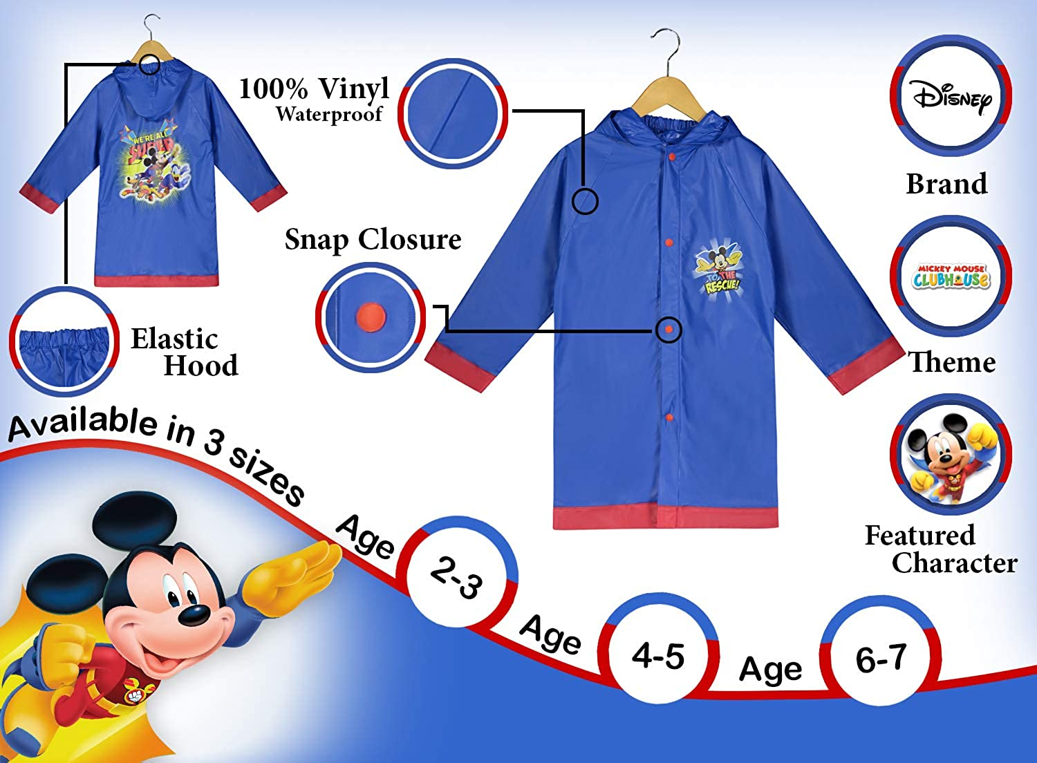 Disney Little Boys Mickey Mouse ClubHouse Waterproof Outwear Hooded Rain Slicker - Toddler