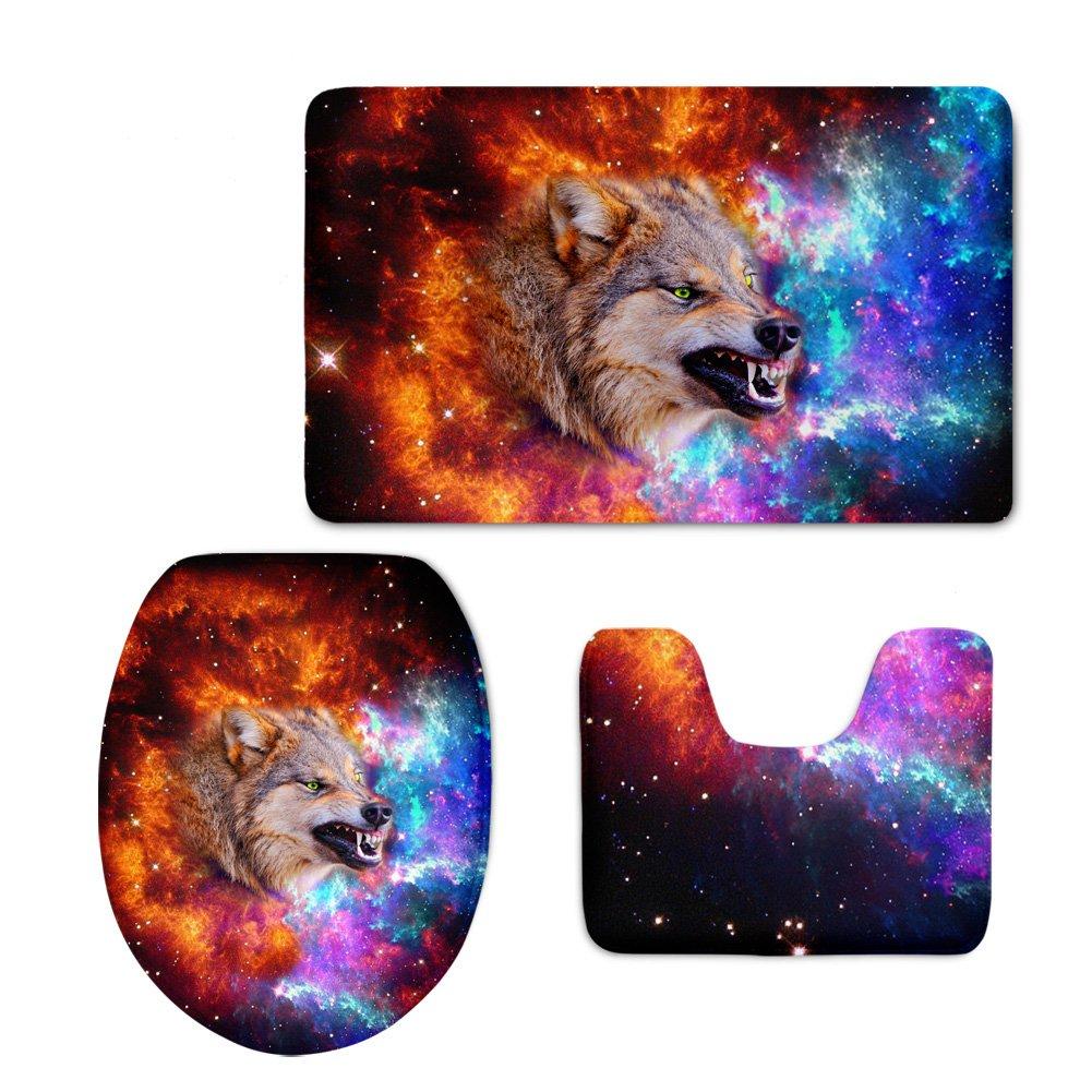 CHAQLIN 3D Animal Bathroom Flannel Rugs Set with Galaxy Wolf