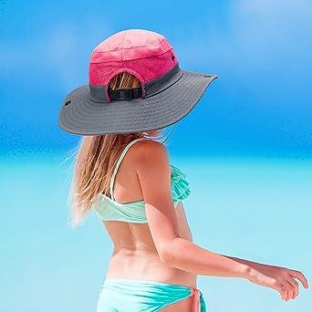 Geyoga 2 Paquets Chapeau de Protection de Soleil Chapeau de Soleil /à Bord Large en Maille Chapeau de Plage Randonn/ée P/êche Pliable en Plein Air Chapeau d/'/Ét/é 56-58 cm