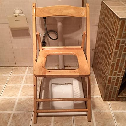 Amazon.com: Shower chair Foldable Wood Old Man Potty Seat Chair ...