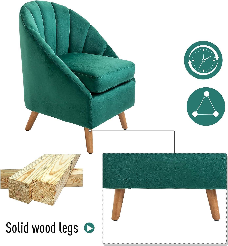homcom Poltroncina Stile Nordico dal Design Ergonomico in Legno e Velluto Verde per Casa e Soggiorno 57 x 68 x 76 cm