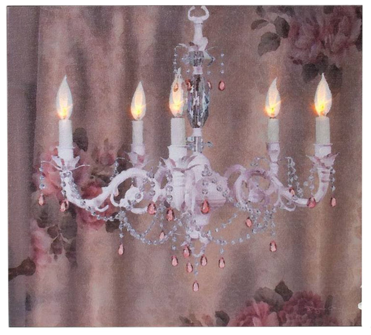 Ohio Wholesale Shabby Chic Chandelier Lighted Canvas 12'' x 13''