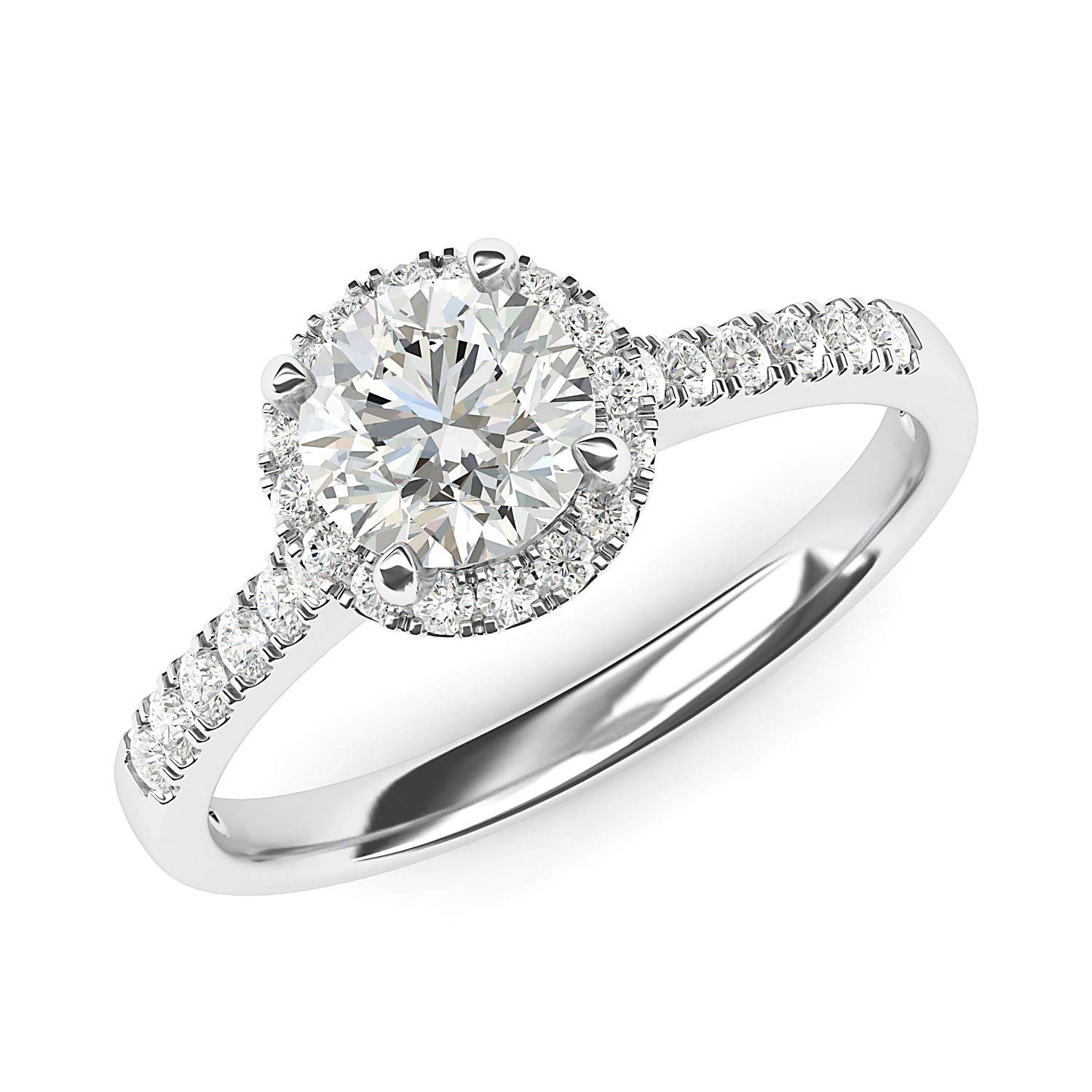 14k White Gold Classic Simulated Round Brilliant Cut Diamond Halo Engagement Ring with Side Stones (6.5) by THELANDA (Image #2)