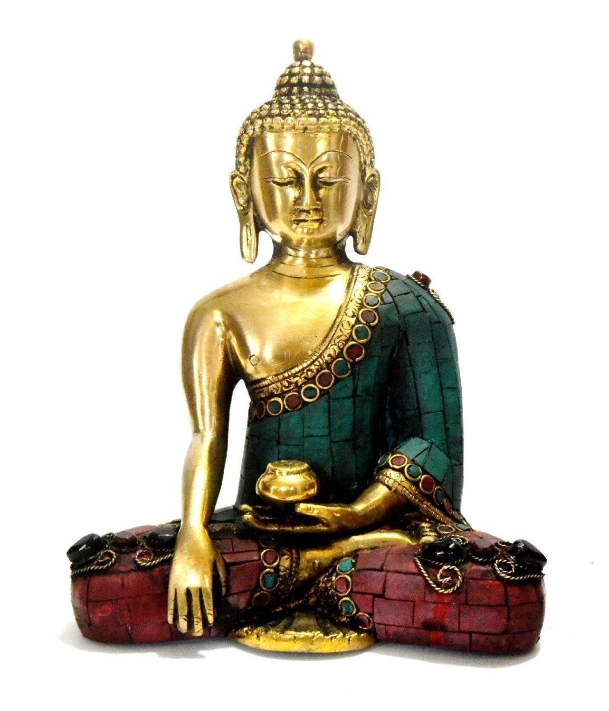 Aone India Thai Tibetan Buddha Statue-Meditating Peace Harmony Buddhism Statue- Antique Style Jeweled Hand Made Buddha in Earth Touching Mudra + Cash Envelope (Pack Of 10)