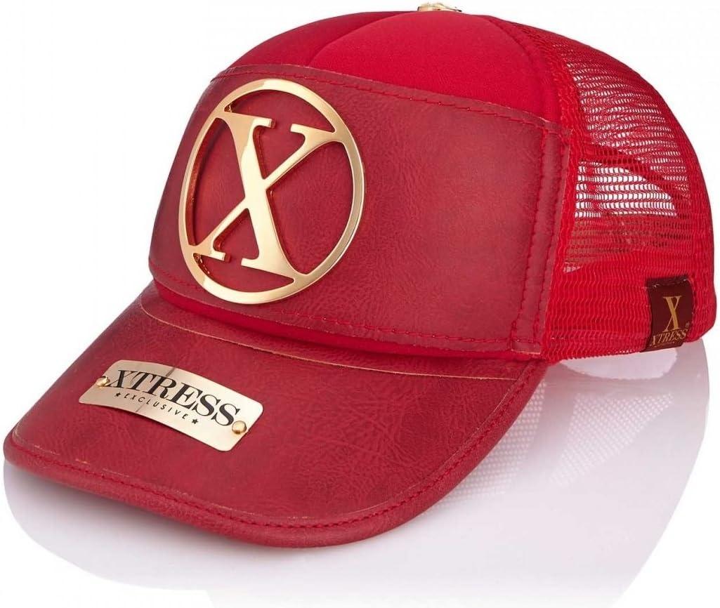 Xtress Exclusive Gorra roja de Cuero para Hombre y Mujer.: Amazon ...