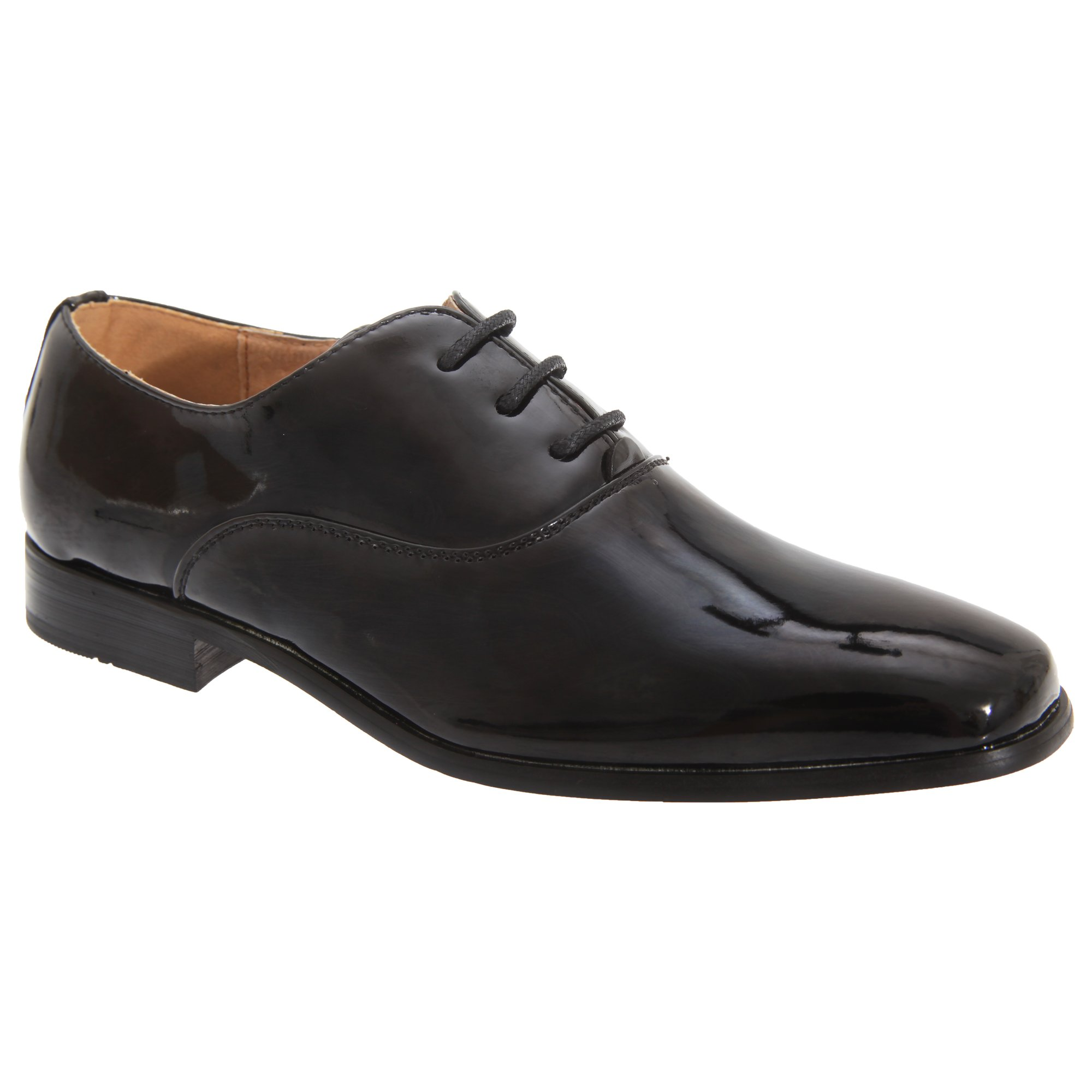 Goor Boys Patent Leather Lace-Up Oxford Tie Dress Shoes (2 US) (Black Patent)