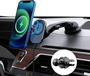iWALK Magnetic Wireless Car Charger Mount, 15W Fast Wireless Charging Car Mount with Suction Cup & Air Vent Compatible with iPhone 12/12 Pro/12 Mini/12 Pro Max