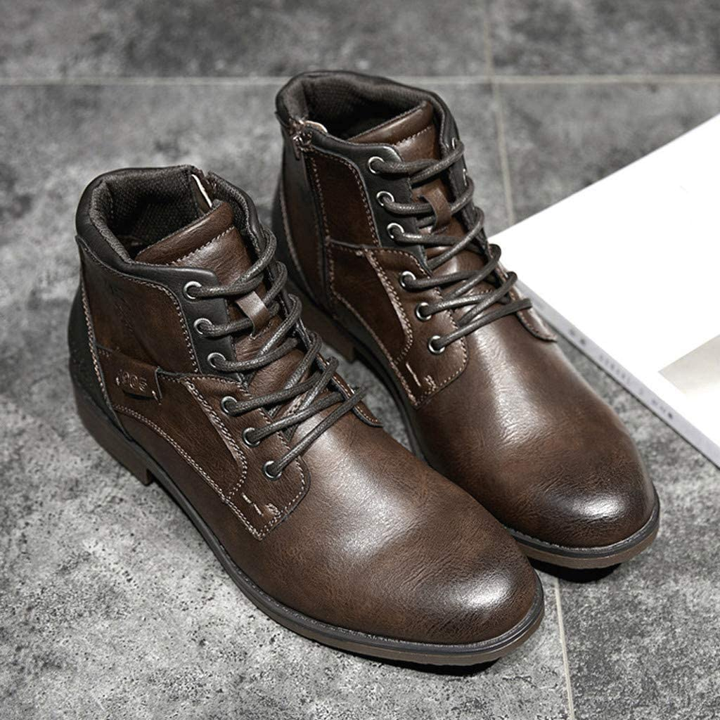 Retro Men High-Top Side Zipper Tooling Boots Lace-Up Block Heels Hollow Casual Daily Working Shoes