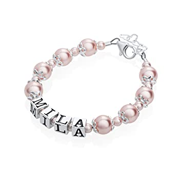 f720c477e791b Personalized Name Luxury Sterling Silver with Swarovski Crystal Infant Girl  Keepsake Bracelet (BNBC_S)