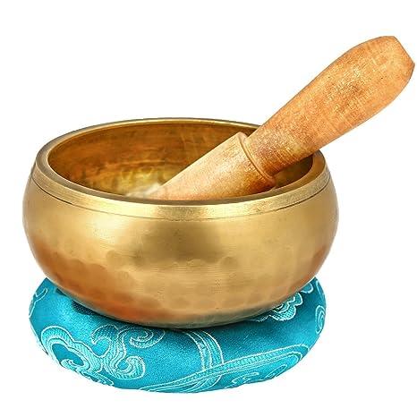 REEHUT Cuenco de Yoga de Meditación Tibetana Maza y Cojín de Seda - para meditación, Sanación de Chakras, Oración, Yoga y Contemplación