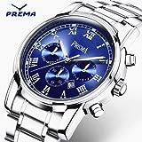 Smalody Prema メンズ時計 日常運動ビジネス兼用腕時計 ミリタリースポーツデザインデジタルクォーツ ファッション ルミナスフル ステンレススチールバンド ウォッチ 男性 大人 シンプル カジュアル 腕時計 3色 (ブルー)