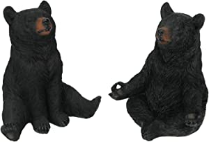 Things2Die4 Set of 2 Meditating Black Bear Yoga Pose Statues 6 Inches High