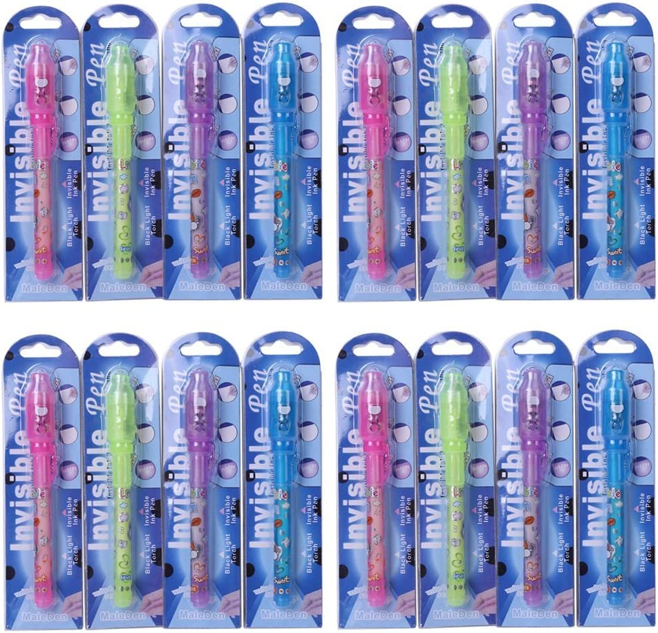 MALEDEN Invisible Ink Pen, Spy Pen with UV Light Magic Marker Kid Pens for Secret Message and Party Goody Bag Filler(Pack of 16)