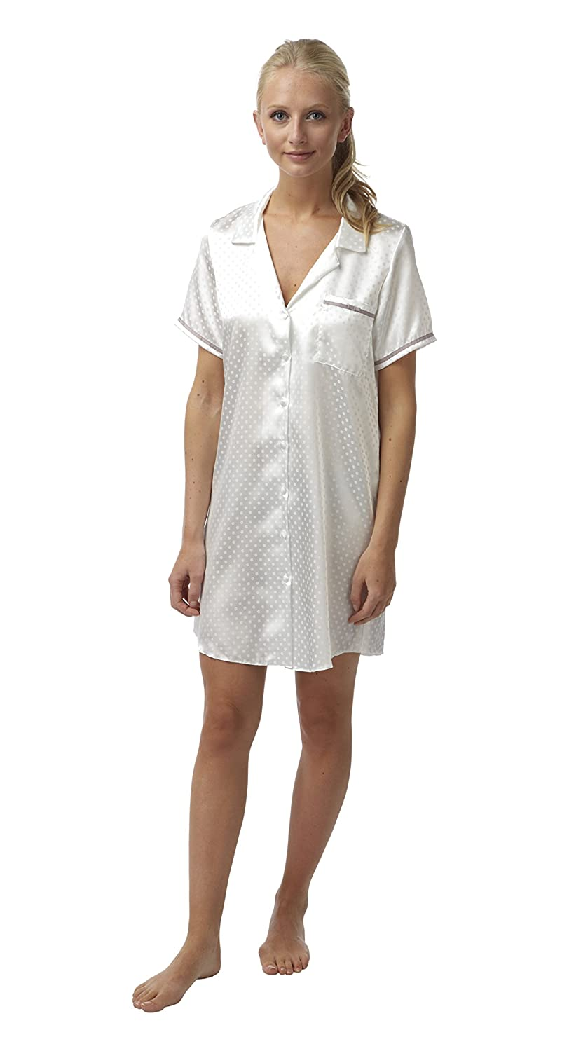 BHS Ladies Short Daisy Satin Button Through Nightshirt. Ivory. Sizes 8 10 12 14 16 18 20 22