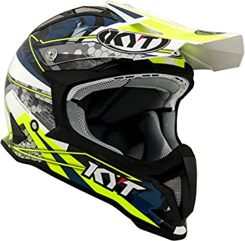 Amazon.es: KYT casco Moto Cross off-road Strike Eagle, Web Matt White/Blue, talla XS, 53 - 54 cm