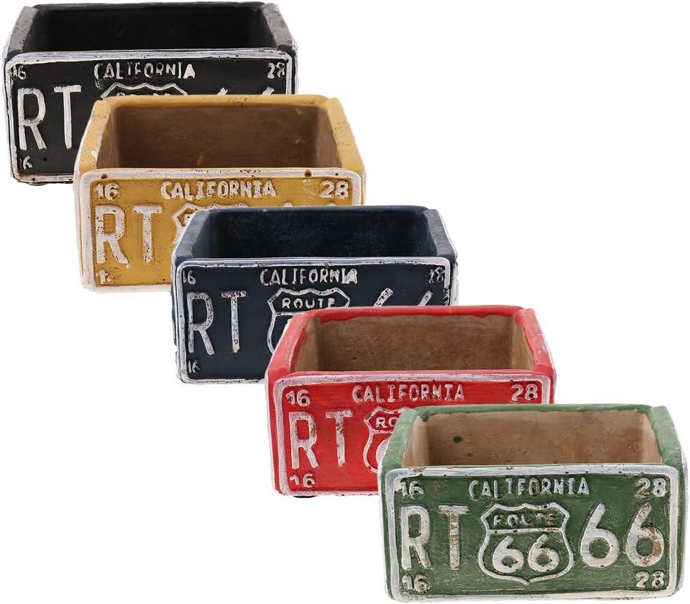 LOVIVER Cendrier De Ciment De Plaque De Voiture De Route Am/éricaine Vintage 66 pour La D/écoration De Bureau /à La Maison Jaune
