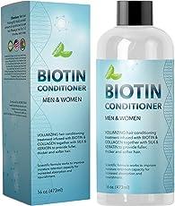 Natural Biotin Conditioner For Hair Loss - DHT Blocker Hair Growth Hair Follicle Stimulator - Dry Damaged Hair Treatment Sulfate Free With Aloe Vera Jojoba Oil Sea Buckthorn (16oz Conditioner)