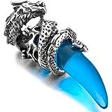 MunkiMix Acero Inoxidable Colgante Collar Cristal Dragón Lobo Diente Hombre ,Cadena 58cm