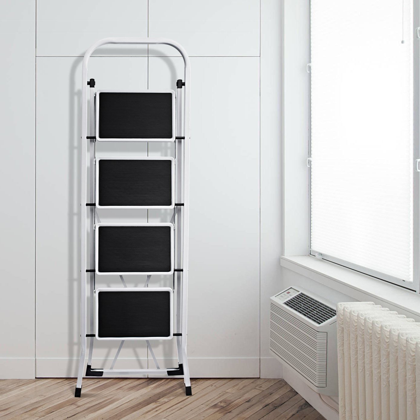 Delxo Folding 4 Step Ladder Ladder With Convenient Handgrip Anti-Slip Sturdy and Wide Pedal 330lbs Portable Steel Step Stool White and Black 4-Feet (WK2040-3) by Delxo (Image #5)
