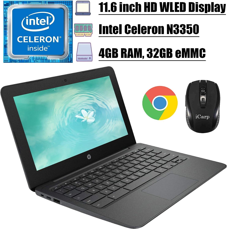 2020 Premium HP Chromebook 11 Latop Computer 11.6 inch HD WLED Display Intel Celeron Processor N3350 4GB DDR4 32GB eMMC Type C Webcam WiFi Chrome OS + iCarp Wireless Mouse