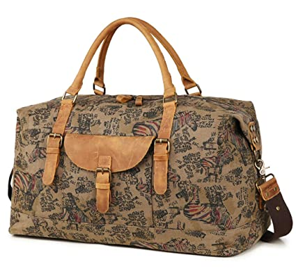 280665d3c1 Kemy s Mens Canvas Duffle Bag Oversized Weekender Overnight Bags Men  Weekend Travel Duffel Carryon Luggage Genuine