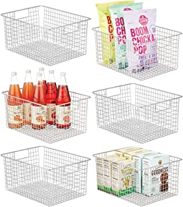 mDesign Farmhouse Decor Metal Wire Food Organizer Storage Bin Baskets with Handles for Kitchen Cabinets, Pantry, Bathroom, Laundry Room, Closets, Garage - 6 Pack - Chrome