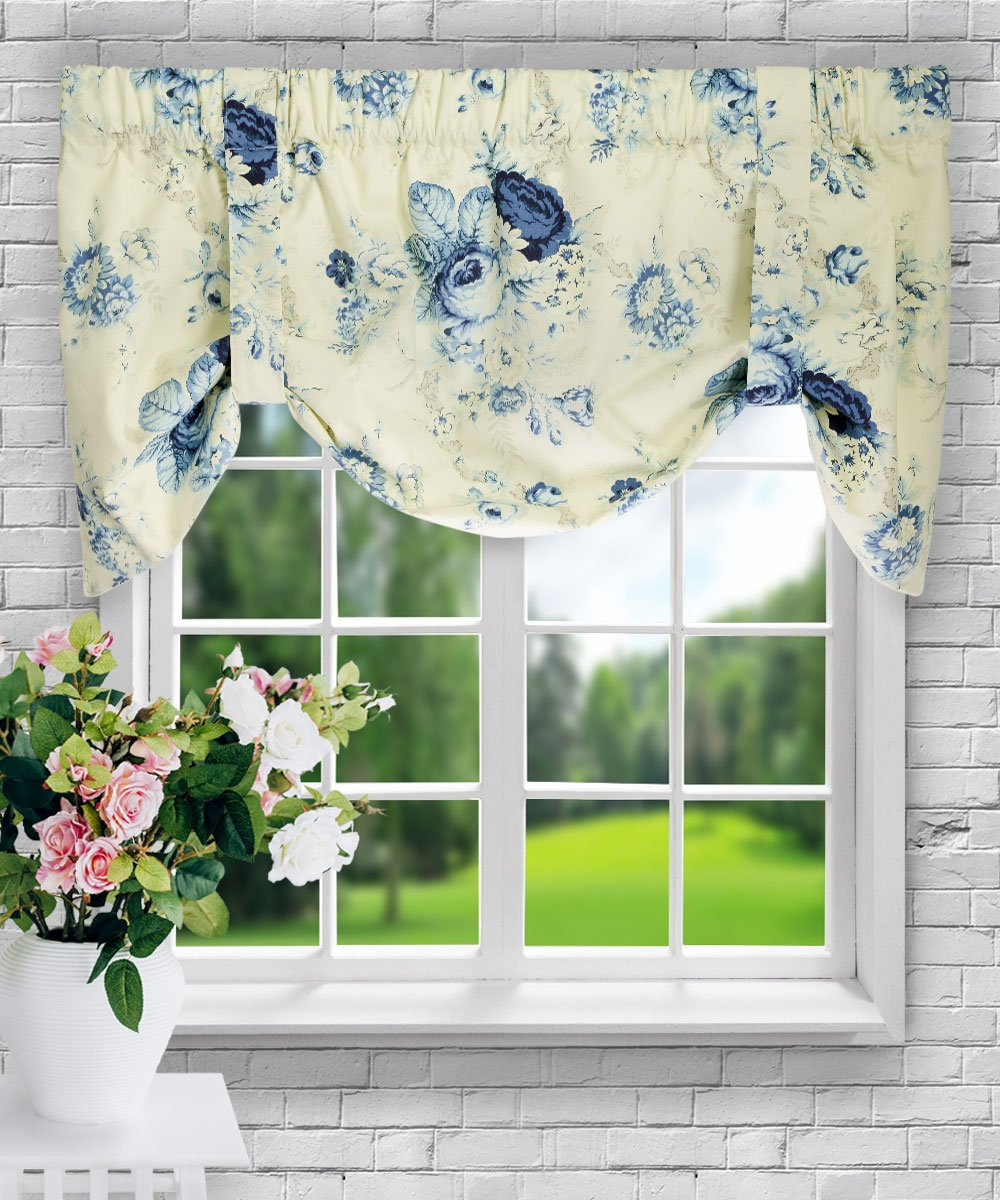 Ellis Curtain Sanctuary Rose 50-by-21 Inch Lined Tie-Up Valance, Cornflower